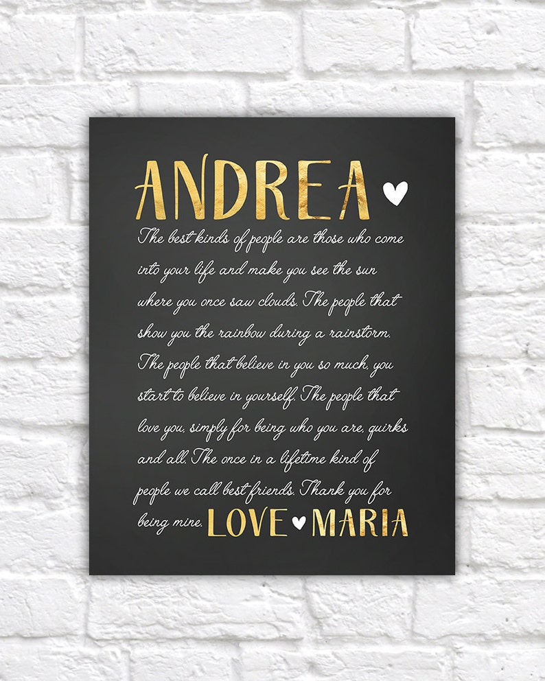 Special Gift For Best Friend Letter To Best Friend Sentimental Gifts Birthday Gift For Friend Gold And Black Cursive Letter Wf401