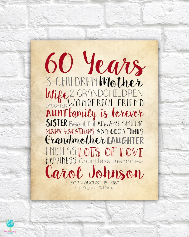 60th Birthday Gift for Mom Woman Turning 60 Years Old Mother image 1