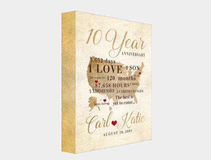 Tenth Year Wedding Anniversary Gift: 10 Year Anniversary Gift Gift For Men Women His Hers 10th