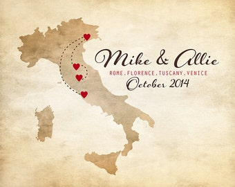 Map of Italy, Customized for Honeymoon, Anniversary, Travel, Birth, Engagement, Personalized Wedding Gift for Couples, Italian, Rome | WF11
