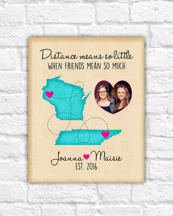 Custom Best Friend Birthday Gift Long Distance Map