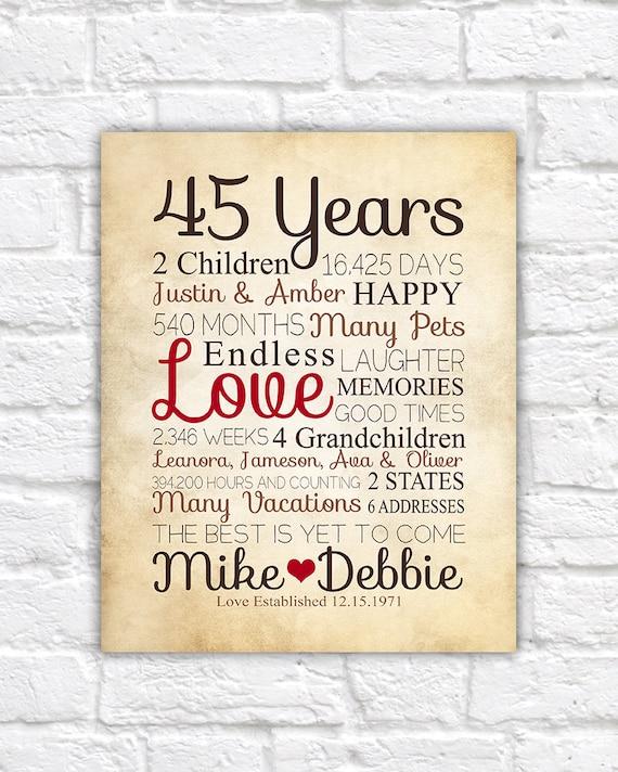 30 Year Wedding Anniversary Gift Ideas For Parents: Anniversary Gift For Parents 45 Year Anniversary 45th Year
