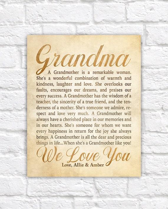 Items similar to Gift Idea for Grandmother, Poem for Grandmar