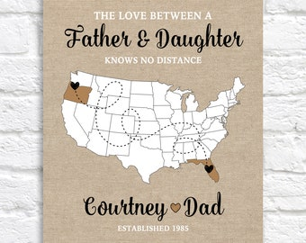 Christmas Gift for Dad, Personalized Long Distance Map, Living Apart from Father, Across the Country Move, Dad Birthday Gift, Father in law