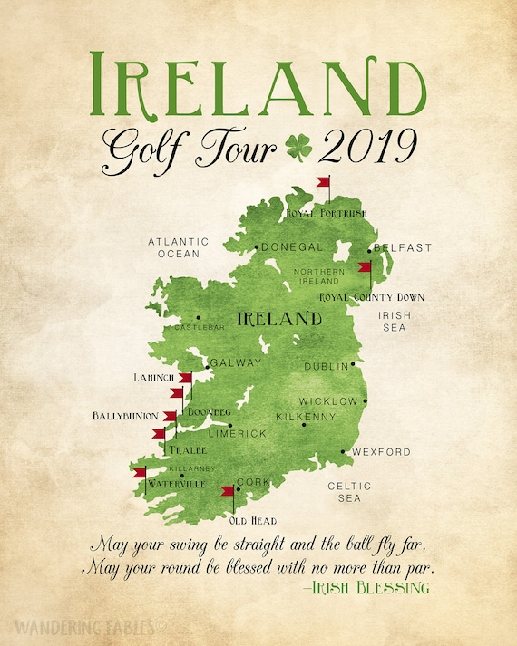 Golf Map Of Ireland.Ireland Golf Map Golf Gift Gift For Dad Personalized Travel Map Golf Trip Golf Tour Of Ireland Gift For Golfer Celtic Irish