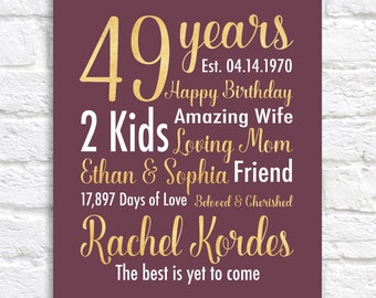 49th Birthday Gift, 49 Years Young, Almost 50, Turning 49, Born 1970, Sangria and Gold Colors, Personalized Birthday Sign Gifts | WF666