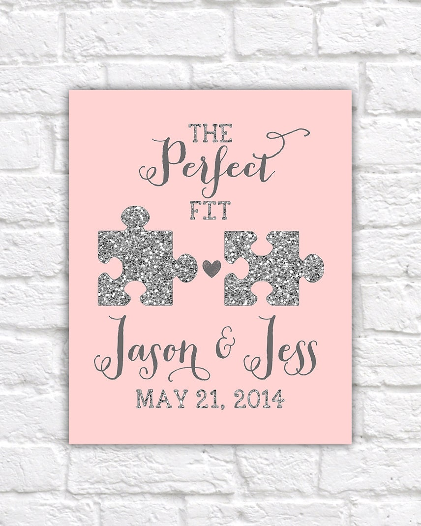 Wedding Gift, Jigsaw Pieces, Perfect Fit, Puzzle, Blush, Glitter ...