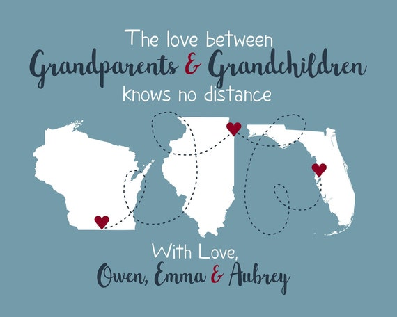 Personalized Grandparent Maps Christmas Gift For Grandma And Etsy
