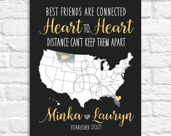 Gift for Best Friends, Long Distance, Hometowns Personalized Map Art Print for Home Decor, Wall Art, Dorm, Pen Pals, Friends Forever Map