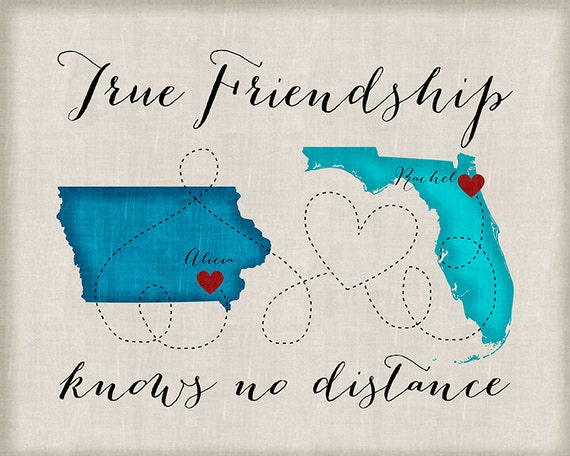 Long Distance Best Friend Gift Friendship Quotes Customized Etsy