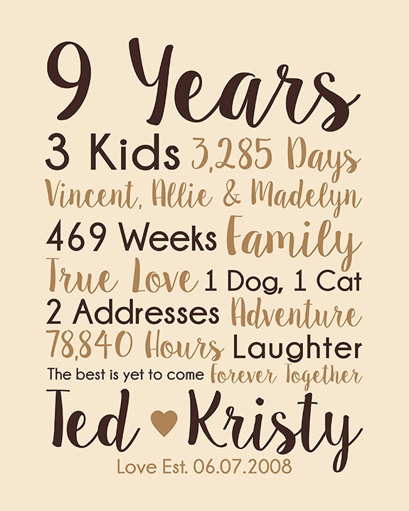 9th Anniversary Gift 9 Years Married Wedding Anniversary Gift