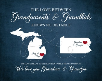 Grandma and Grandpa Map, Long Distance Grandparents, Personalized Mothers Day Gift for Grandma Living Far Away, State to State Canvas