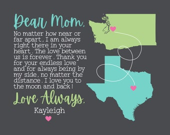 Mother Day Gift Long Distance Map Gift for Mom, Dear Mom Long Distance Mother Daughter or Son, Long Distance Kids Gift for Mom Birthday Poem