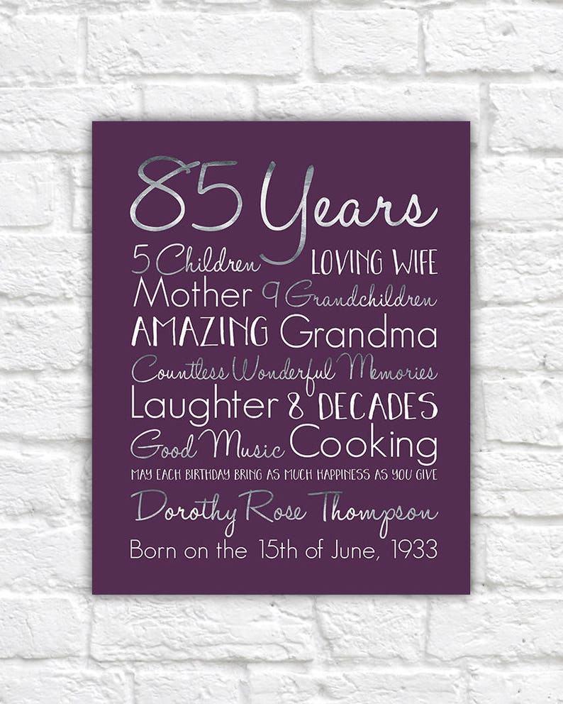Birthday Gift For Grandma Choose ANY Year 85th
