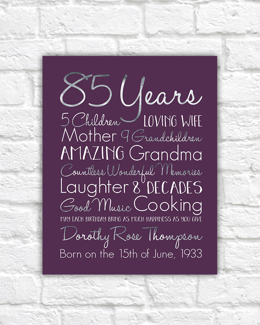 Birthday Gift For Grandma Choose ANY Year 85th Gifts 80
