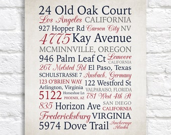 Address Collage Personalized Artwork, Gift for Military Family, Many Addresses, Word Art, House Gift, Home Decor Sign, Patriotic | WF681