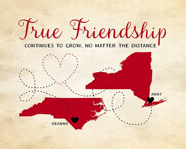 Friendship Quote Gift For Best Friend Map Art Customized Long