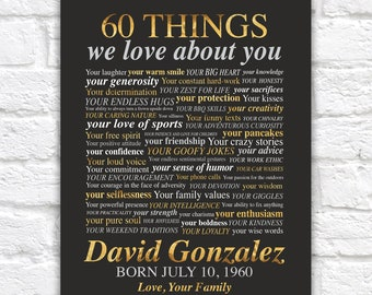 60th Birthday Gifts for Men, 60 Things We Love About You, 60 Facts about Dad, Grandpa, Loving Words Art, Office Decor for Father
