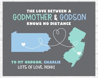 Godson and Godmother Gift, Personalized Gift for Godchild, Godson Long Distance Maps, Gift for New Godmother, Godson Quote, Moving Away Gift