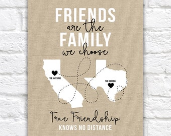 Friends of the Family, Close Friends Gifts, Christmas Gift for Friends, Living Far Away, Moving, Long Distance Friendship, Burlap Style