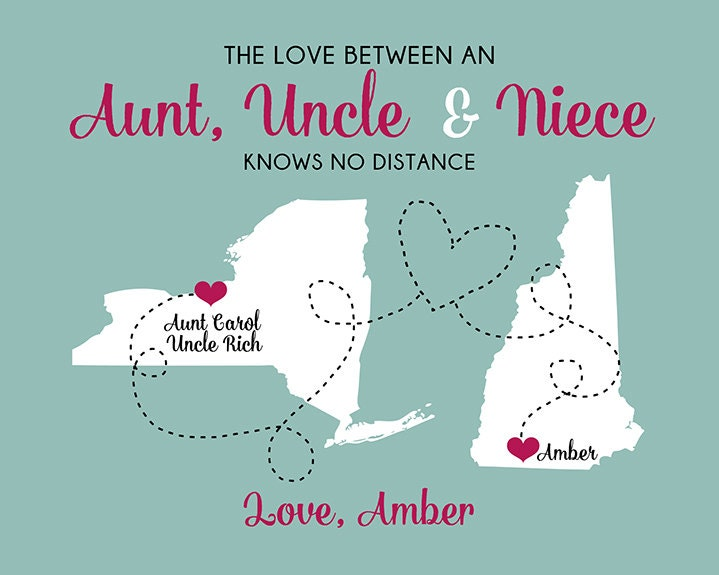 Gift For Aunt And Uncle, Custom Art Print Maps