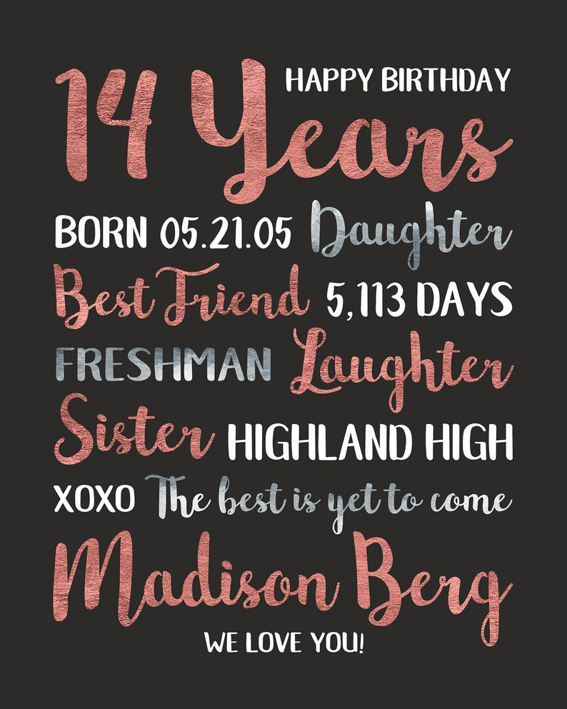 14th Birthday Gift Personalized Information