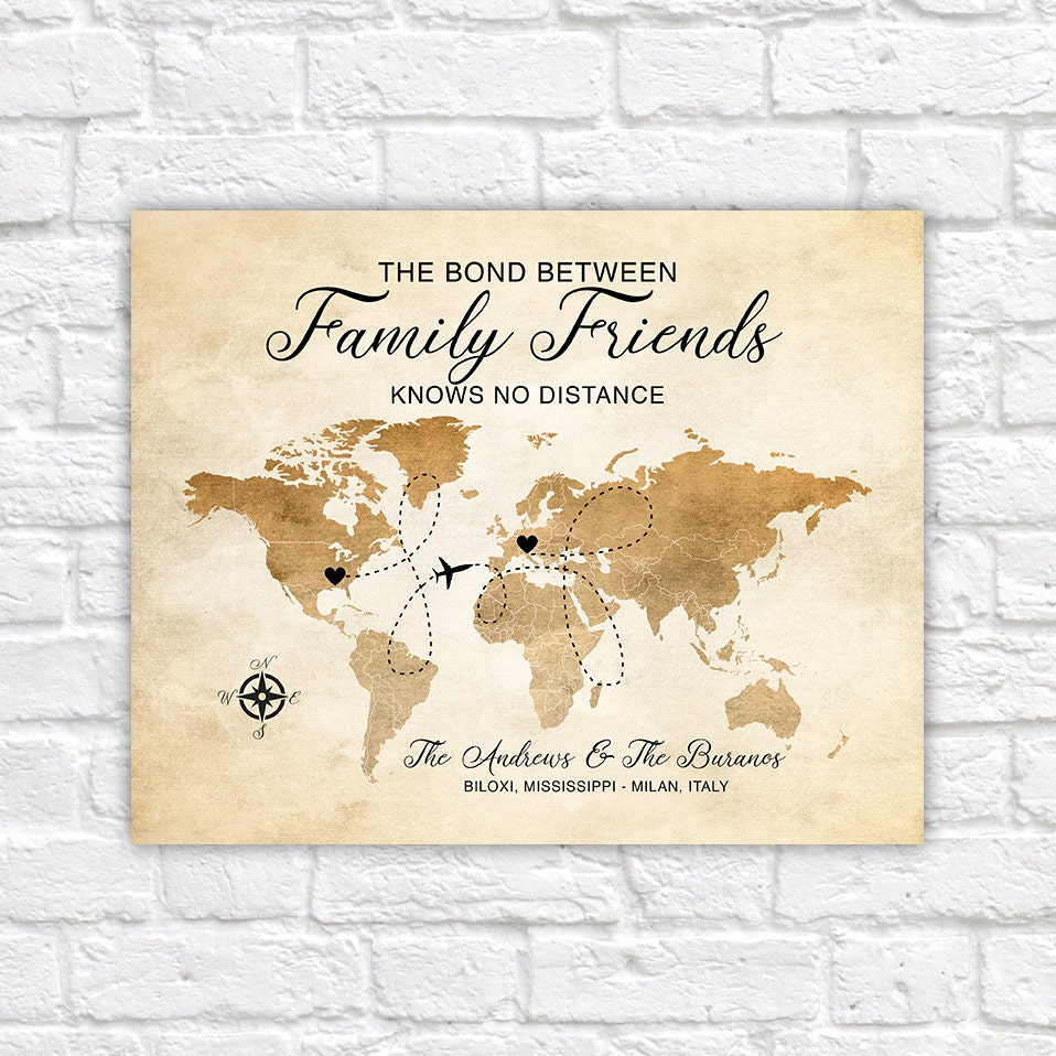 Family friends gift moving long distance family world map usa to family friends gift moving long distance family world map usa to italy choose locations friendship quote foreign exchange wf388 gumiabroncs Images