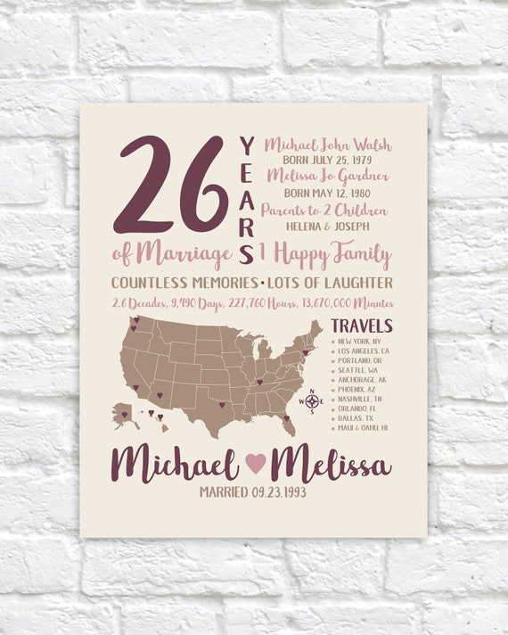 26th Anniversary Art Married For 26 Years Wedding Etsy