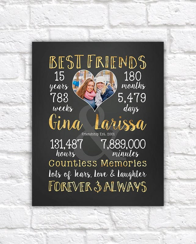 Best Friend Gift Personalized Art For Friends Birthday Or Just Because Friendversary Anniversary Presents BFF