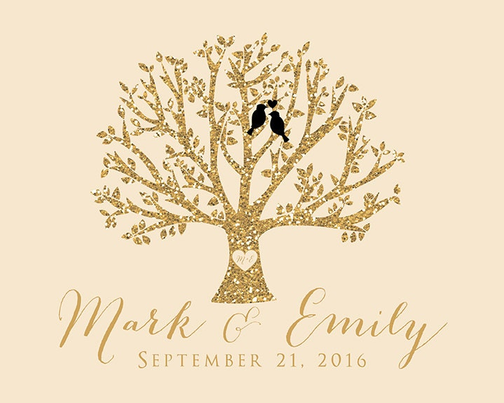Wedding Gift Tree With Love Birds Personalized Art Gold Glitter