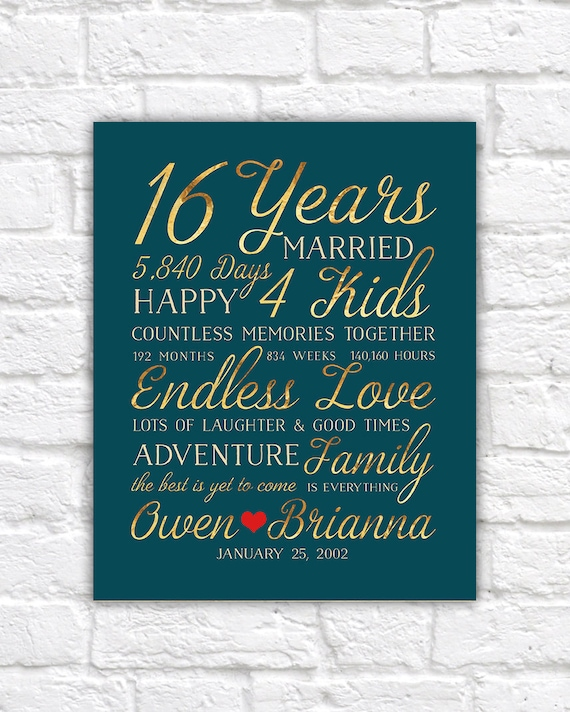 16th Wedding Anniversary Gift Married For 16 Years Gift For Etsy