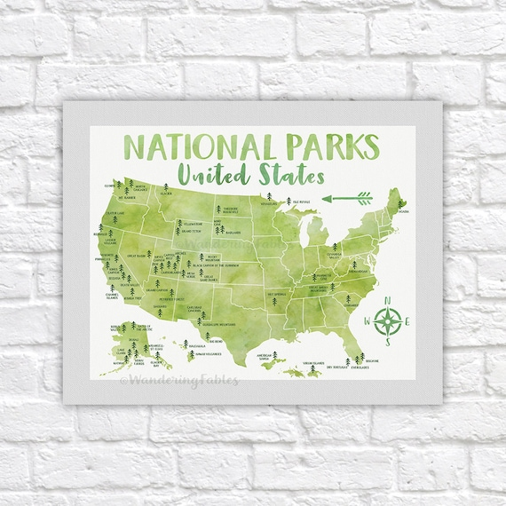 National Park Poster All United States National Parks on   Etsy