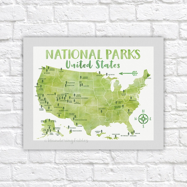 National Park Poster All United States National Parks on | Etsy