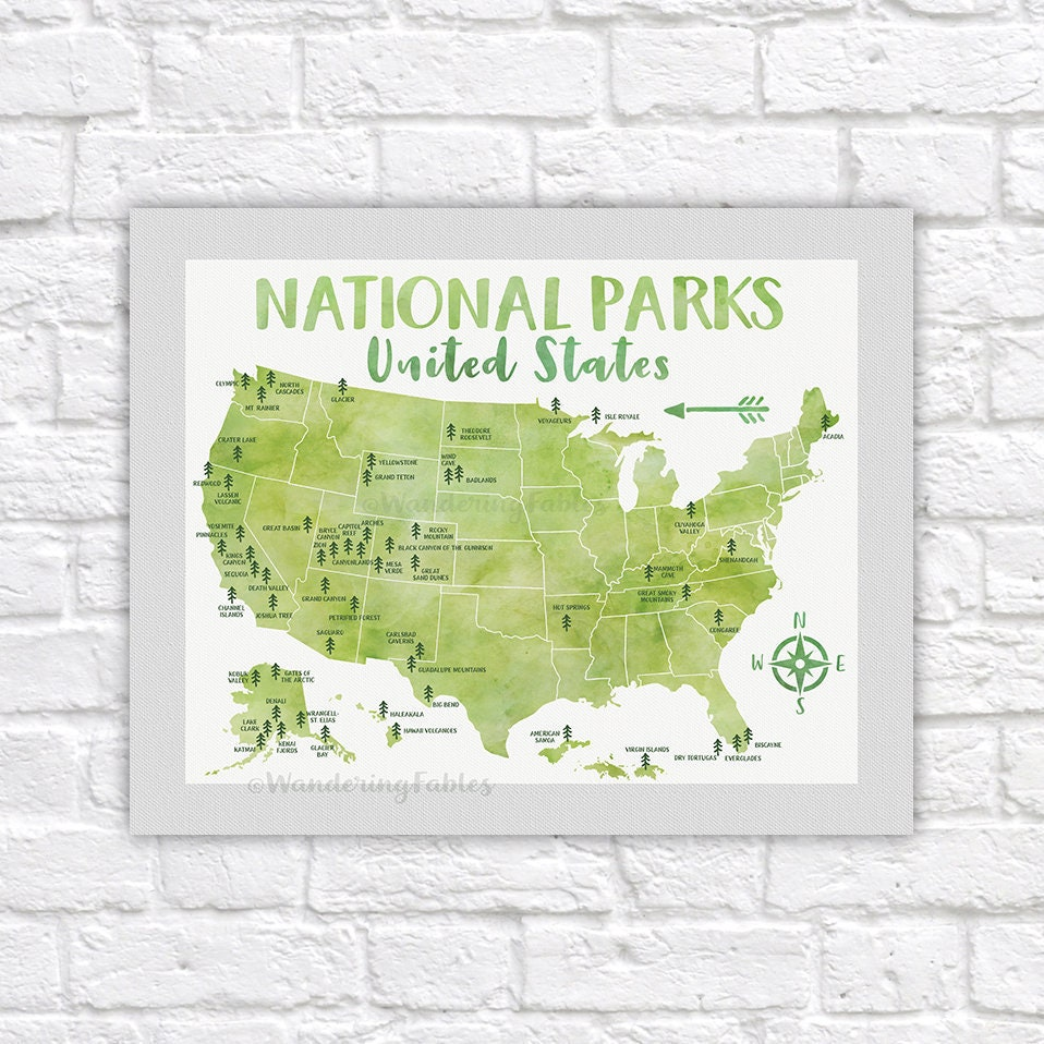 National Park Poster, All United States National Parks on Green Map ...