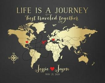 Travel Map, Wedding Gift, Destination, Gold World Map, Custom Art Print Personalized Gifts, Long Distance Relationships, Honeymoon Sign