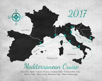 Mediterranean Cruise Map, Custom Holiday Map, Sea Trip, Italy Coast, Personalized Locations Visited, Honeymoon Mediterranean Sailing | WF589