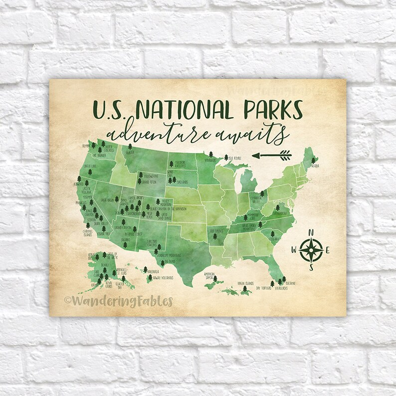 US National Parks Map Adventure Mountains Parks Rivers | Etsy