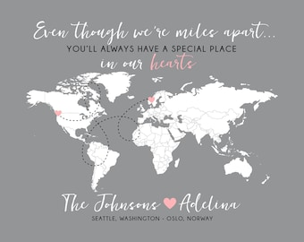 Gift for Foreign Exchange Student, World Map, Host Family, Host Parents, Host Daughter, Son - Long Distance Map, Au Pair, Nanny Friend