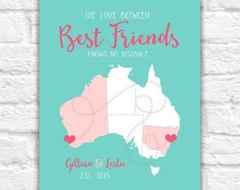 Australia Best Friends Map, Long Distance Map of Australia for Friends Moving, Friendship Quote Personalised | WF75