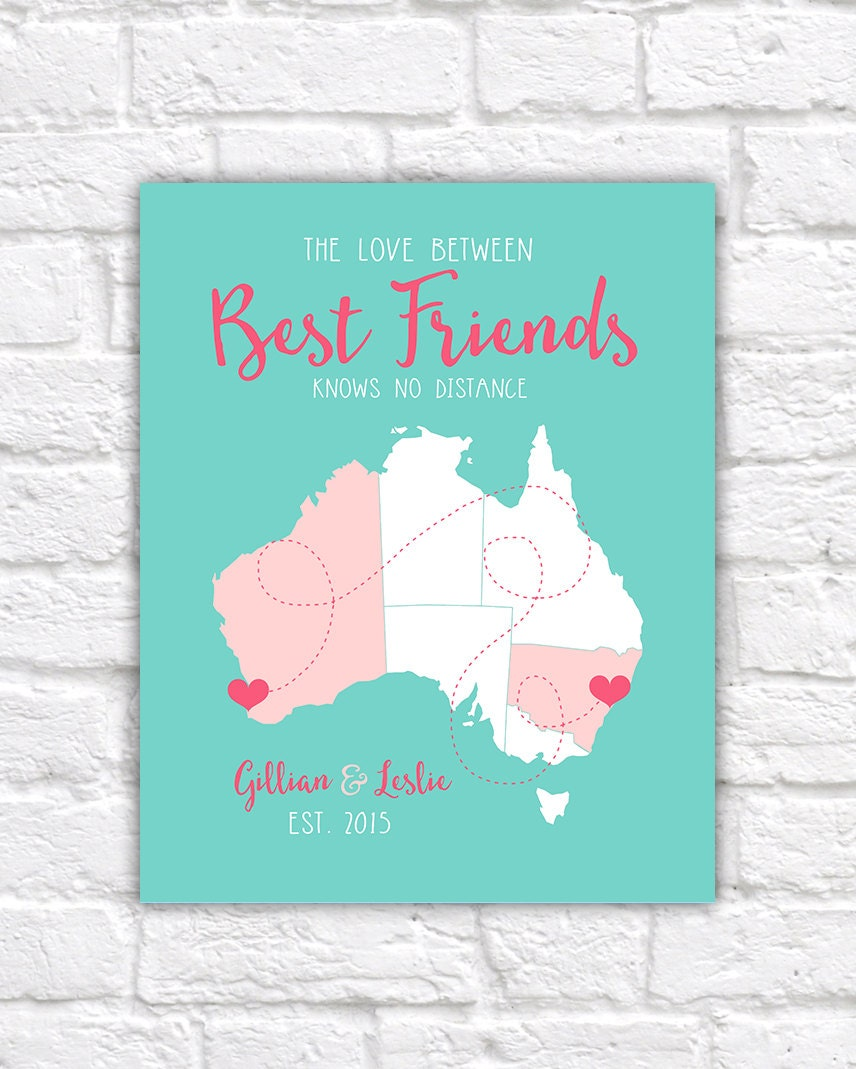 Friend Gifts Best Birthday Australia BFF Map Aussie