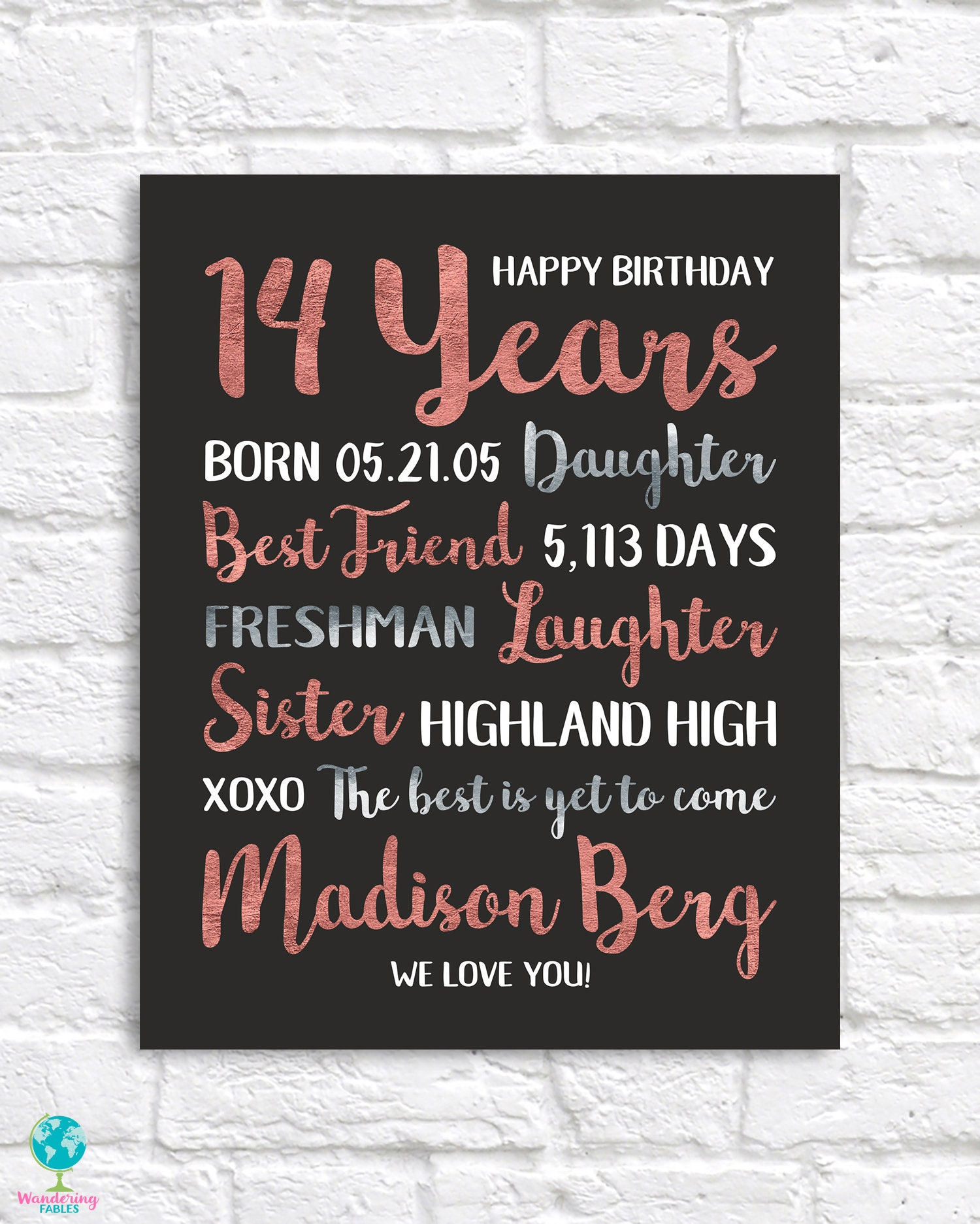 14th Birthday Gift Personalized Information For Daughter