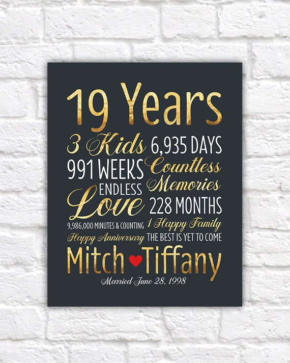 Personalized Wedding Anniversary Gift 19th Anniversary 19 Years Married 1998 Gift For Husband Gold Anniversary Gift Wall Decor Wf579