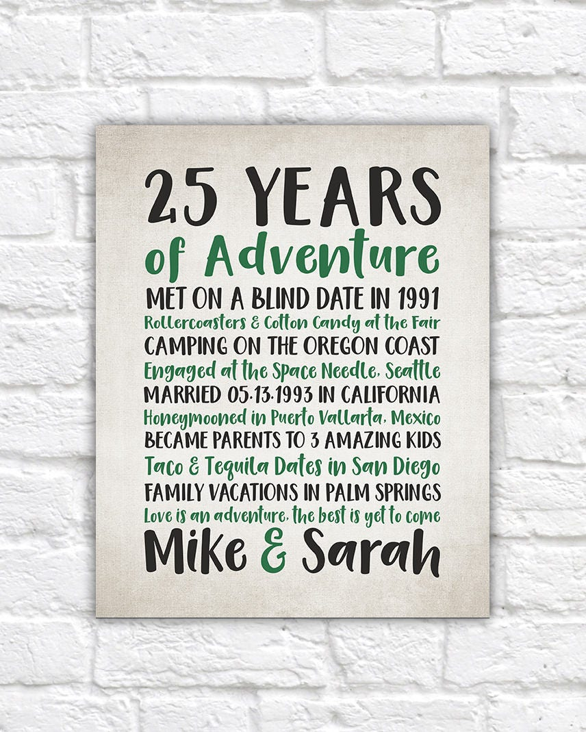 17 Year Wedding Anniversary Traditional Gift: Years Of Adventure, Customized Anniversary Word Art