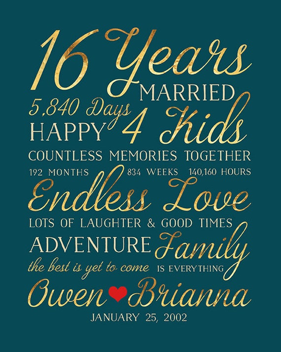 16th Wedding Anniversary Gift Married For 16 Years Gift For Husband Wife The Best Is Yet To Come Gold Words Type Art Timeless Wf598