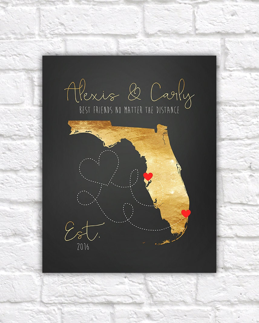 Gold Map Custom Art Long Distance Best Friends Florida
