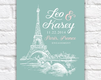Paris Engagement Gift, Eiffel Tower, Paris, France -  Wedding Anniversary, Honeymoon, French, Engagement Present, Skyline, Wife Surprise