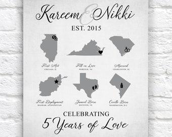 Anniversary Gift, Custom Map Art, Military Couple, Army, Marines, Navy Deployment, ANY YEAR, 5 Year Anniversary, Fifth Gift | WF704