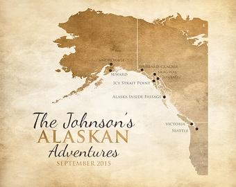 Alaska Map, British Columbia, Seattle, San Francisco - Alaskan Cruise, Alaska Cruise Map, Glaciers, Cruise Ship, Nature Gift, Victoria WF147