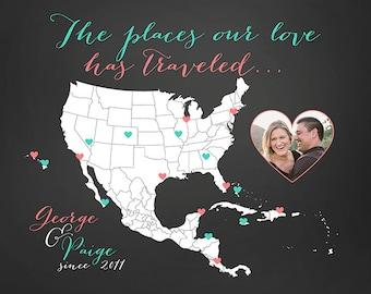 Customized Gift, Map of Places Traveled, Wedding Anniversary, Husband and Wife, Bahamas, Caribbean, Mexico, USA, Hawaii, Honeymoon, Couple
