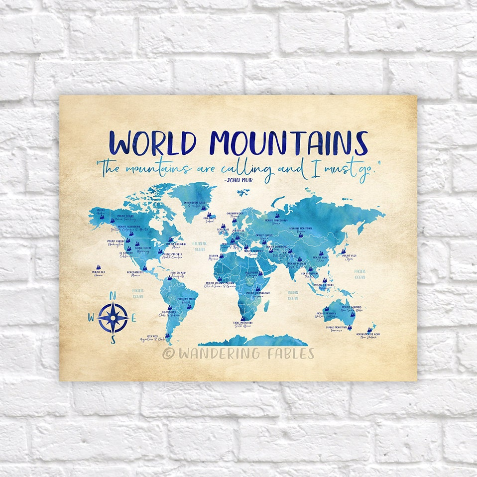 Wonderful World Mountains Map, Famous Mountains Of The World   Take Me To The  Mountains, The Mountains Are Calling, Educational, Kids Room | WF535